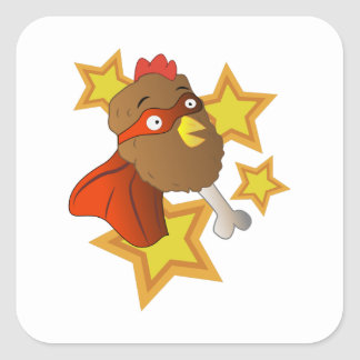 Super Chicken Leg Square Sticker