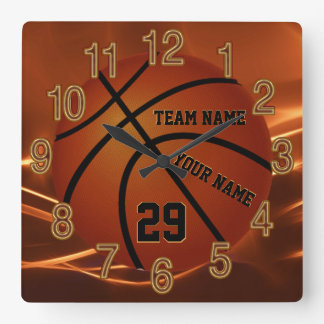 Super Cool Basketball Senior Gift Ideas YOUR TEXT Square Wall Clock