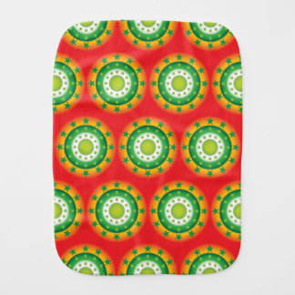Super cool green circular star patterns burp cloth