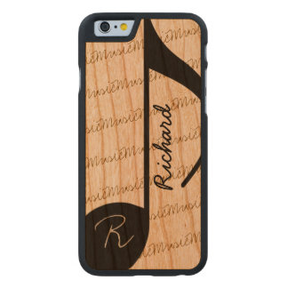 super-cool personalized black musical-note carved cherry iPhone 6 case