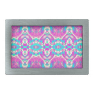 SUPER COOL Pink and Blue Abstract Pattern Rectangular Belt Buckle
