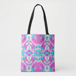 SUPER COOL Pink and Blue Abstract Pattern Tote Bag