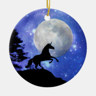 Super Cool Unicorn and Moon Ornament