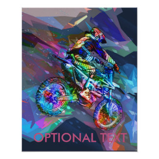 Super Crayon Colored Dirt Bike Downhill Poster