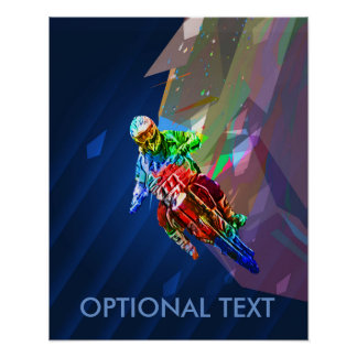 Super Crayon Colored Dirt Bike Leaning Into Curve Poster