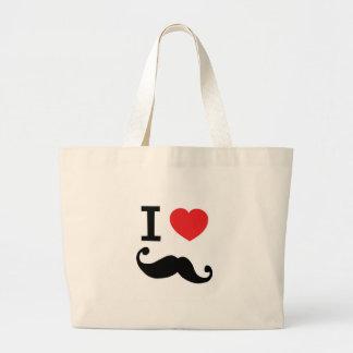 Super curly, twirly Moustache, I LOVE MOUSTACHE Canvas Bags