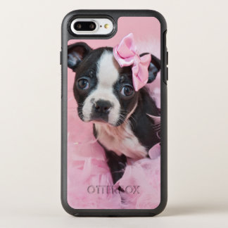Super Cute Boston Terrier Puppy Wearing A Boa OtterBox Symmetry iPhone 7 Plus Case