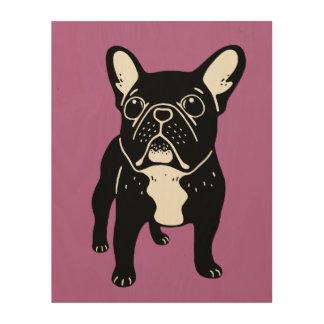 Super cute brindle French Bulldog Puppy Wood Wall Art