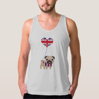 Super Cute Brit Pug with Balloon Customize Singlet