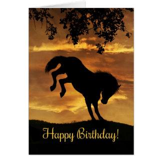 Super Cute Bucking Horse Birthday Card