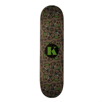 Super Cute Floral Abstract w/Monogram Skateboard