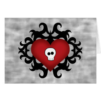 Super cute gothic damask skull heart black and red card