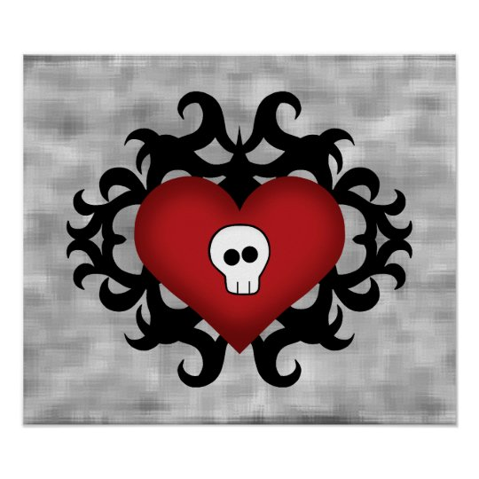 Super cute gothic damask skull heart black and red poster