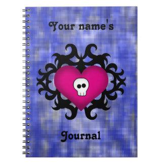Super cute gothic damask skull heart fuschia blue note books