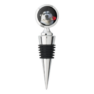 Super Cute Husky Dog With Rose Wine Stopper