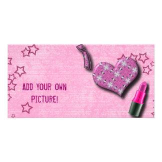 Super Cute I Love Lipstick  Design Custom Photo Card