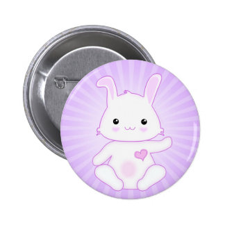 Super Cute Kawaii Bunny Rabbit in Lilac and White 6 Cm Round Badge