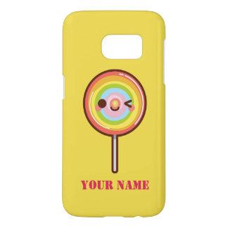 Super cute kawaii rainbow lollipop name monogram
