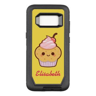 Super cute kawaii sweet cupcake name monogram OtterBox defender samsung galaxy s8 case