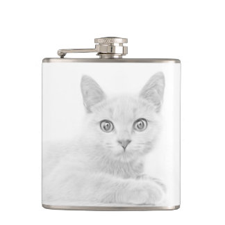 SUPER CUTE Kitten Portrait Hip Flask