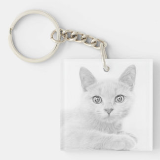 SUPER CUTE Kitten Portrait Photograph Key Ring