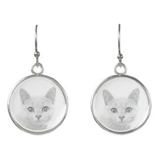 SUPER CUTE Kitty Portrait Earrings
