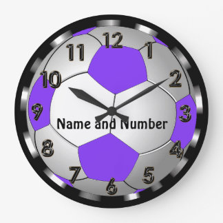 Super Cute Personalized Soccer Clock in Purple