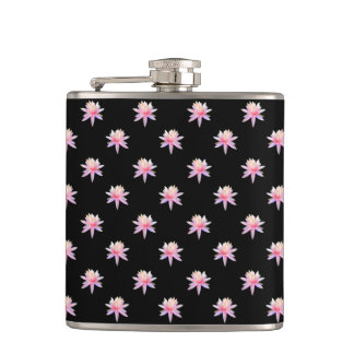 Super Cute Pink White Flowers Hip Flask