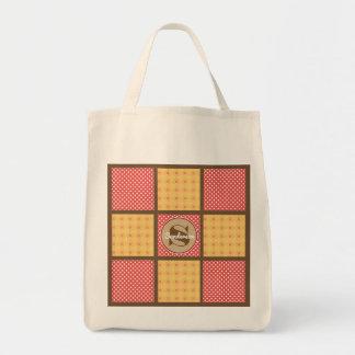 Super Cute Polka Dot Patchwork w/Personalization Tote Bag