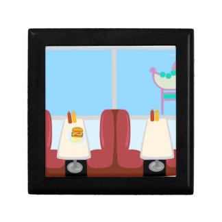 Super Cute Retro Fifties Diner Small Square Gift Box