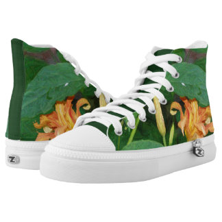 Super Cute Swag Colorful Green Lily High Top Shoe