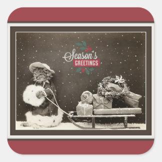 Super Cute Vintage Christmas Cat Square Sticker