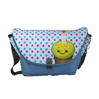 Super cute Yummy cupcake with a smile messenger ba Commuter Bags