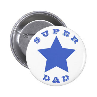 SUPER DAD | Father's Day | Big Navy Blue Star 6 Cm Round Badge