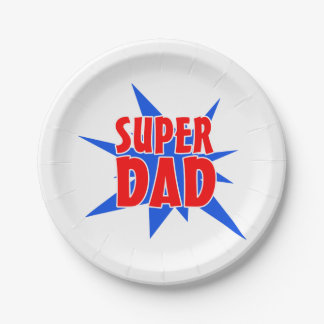Super Dad Father's Day Party Paper Plates 7 Inch Paper Plate
