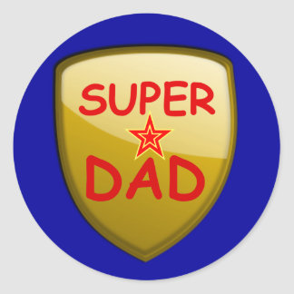 Super Dad Gold Shield Round Sticker