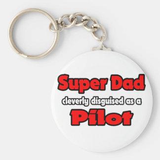 Super Dad ... Pilot Basic Round Button Key Ring