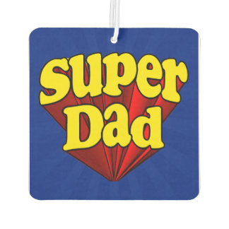 Super Dad Red Yellow Blue Father's Day Superhero Car Air Freshener