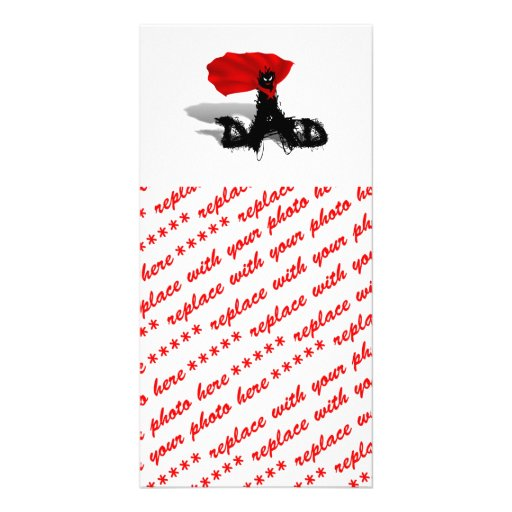 Super Dad Scribble Text With Cape Customized Photo Card