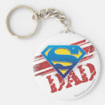 Super Dad Stripes Basic Round Button Key Ring