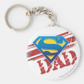 Super Dad Stripes Basic Round Button Key Ring