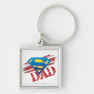Super Dad Stripes Silver-Colored Square Key Ring