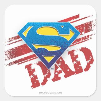Super Dad Stripes Square Sticker