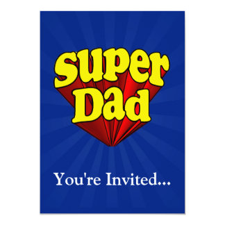 Super Dad, Superhero Red/Yellow/Blue Father's Day 13 Cm X 18 Cm Invitation Card