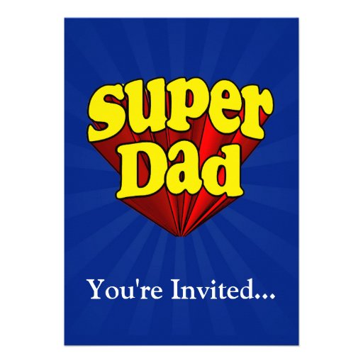 Super Dad, Superhero Red/Yellow/Blue Father's Day Personalized Invite