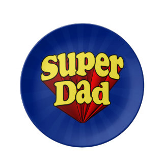 Super Dad, Superhero Red/Yellow/Blue Father's Day Porcelain Plate