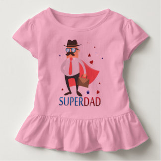 Super Dad With A Cute Hero Character Ruffle Tee