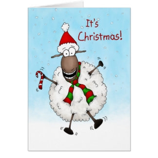 Super Excited It's Christmas Sheep Card