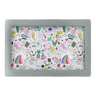 Super Fun Black White Rainbow 80s Sketch Cartoon Belt Buckle