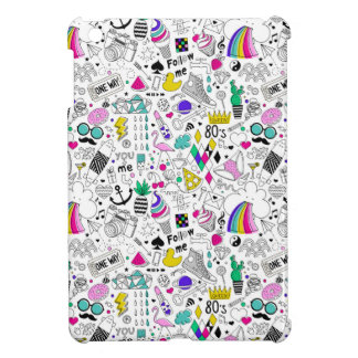 Super Fun Black White Rainbow 80s Sketch Cartoon iPad Mini Cover